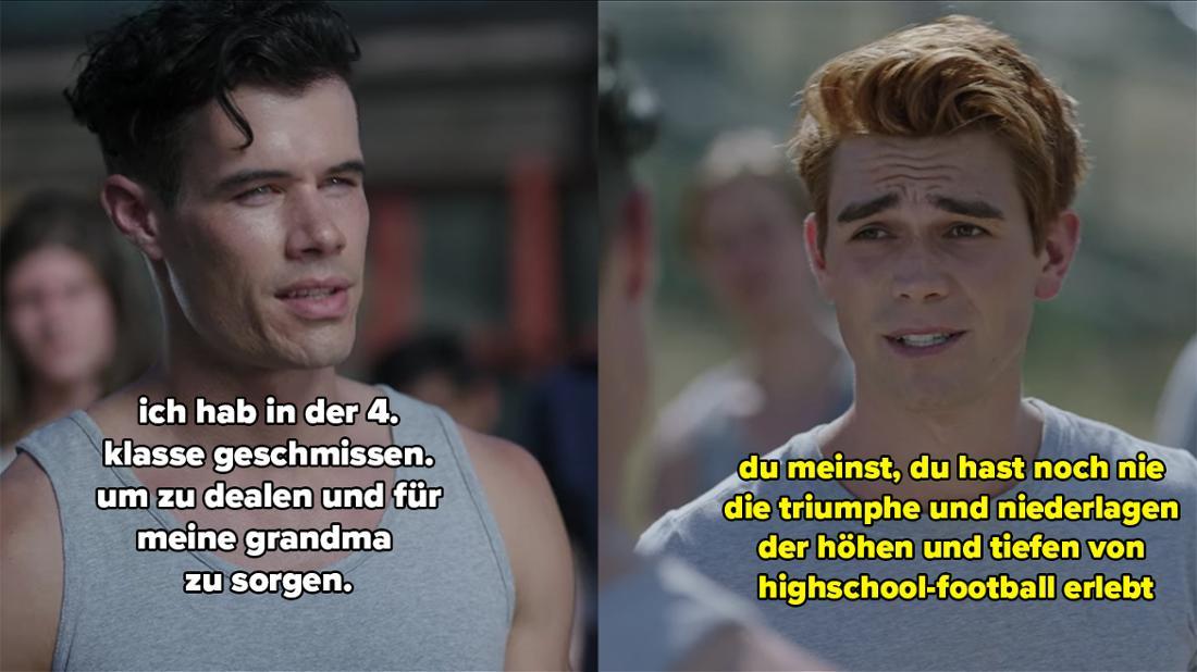 Ein Insasse von Archie erklärt, er habe die Schule in der vierten abgebrochen, um zu dealen und für seine Oma zu sorgen. Archie emeint, das bedeute, er habe die Höhen und Tiefen des Highschool-Footballs nie erlebt.