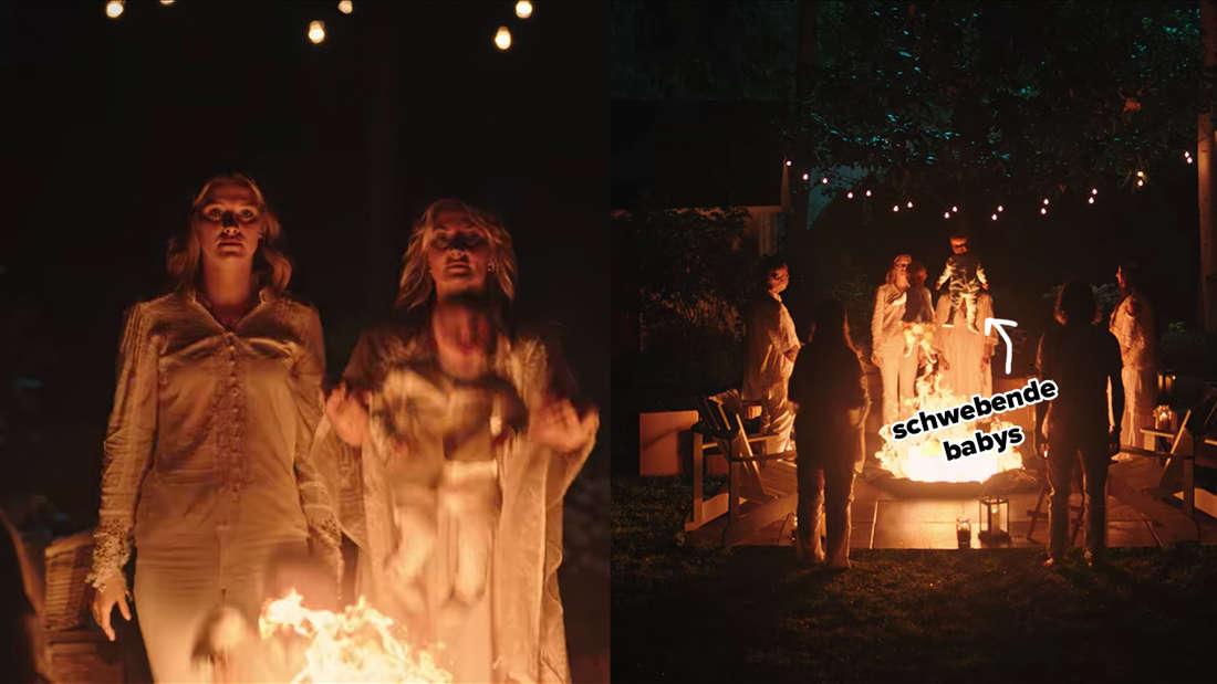 Polly und Alice lassen die Zwillinge über einem Lagerfeuer schweben.