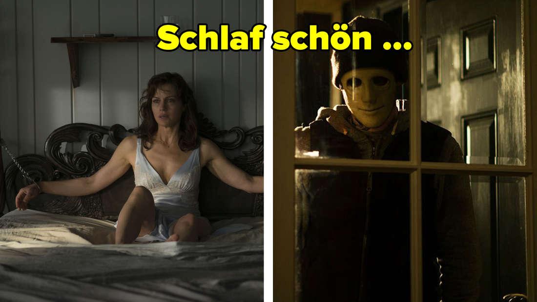 """""""Das Spiel"""" und """"Still"""": Eine Frau ist an ein Bett gefesselt und ein maskierter Mann sind zu einem Fenster hinein."""