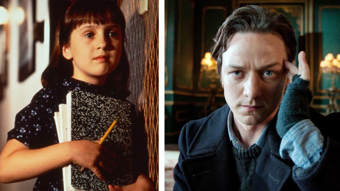 """Matila aus dem Film """"Matilda"""", die ein Buch und einen Stift in der Hand hält und Charles Xavier aus den X-Men-Filmen, der sich eine Hand an den Kopf hält."""