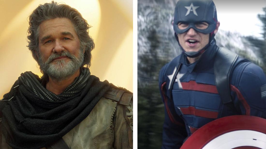 """Ego aus """"Guardians of the Galaxy Vol. 2"""", der lächelt und John Walker aus """"The Falcon and The Winter Soldier."""""""