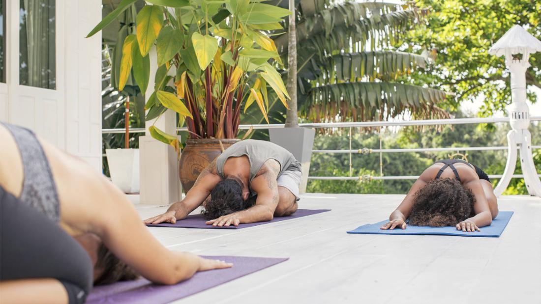 Drei Personen, die sich jeweils auf ihrer eigenen Matte strecken. Sie machen die herabschauender Hund-Übung im Yoga. Um sie herum ist eine schöne blühende Gegend, eine Pflanze und eine Lampe oder ein Vogelhaus.