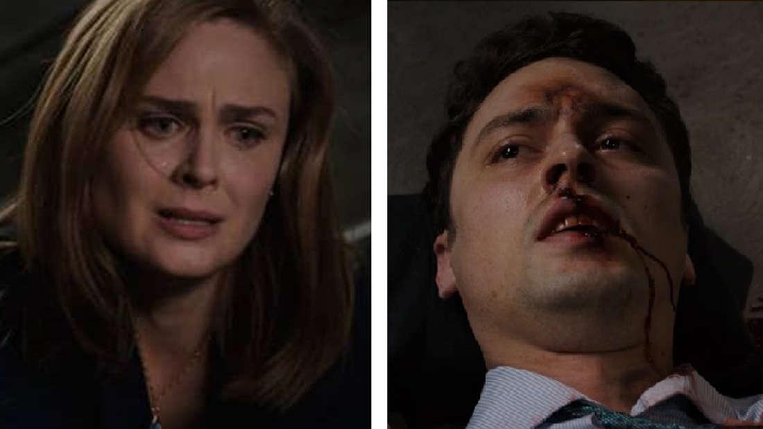 Bones ist über Sweets gebeugt und weint. Sweets sieht sie an. Sein Gesicht ist blutverschmiert.
