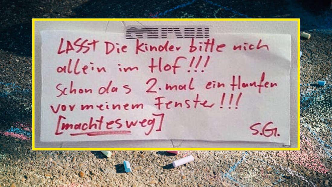 Ein Schild auf dem steht: Lasst die Kinder bitte nicht allein im Hof!!! Schon das zweite Mal ein Haufen vor meinem Fenster! Macht es weg!