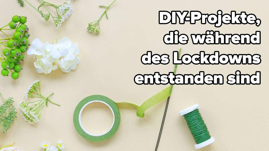"""Blumen, Washitape und Draht, alles in grünen Farben, auf einem blassgelben Hintergrund. Auf dem Bild steht """"DIY-Projekte, die während des Lockdowns entstanden sind."""""""