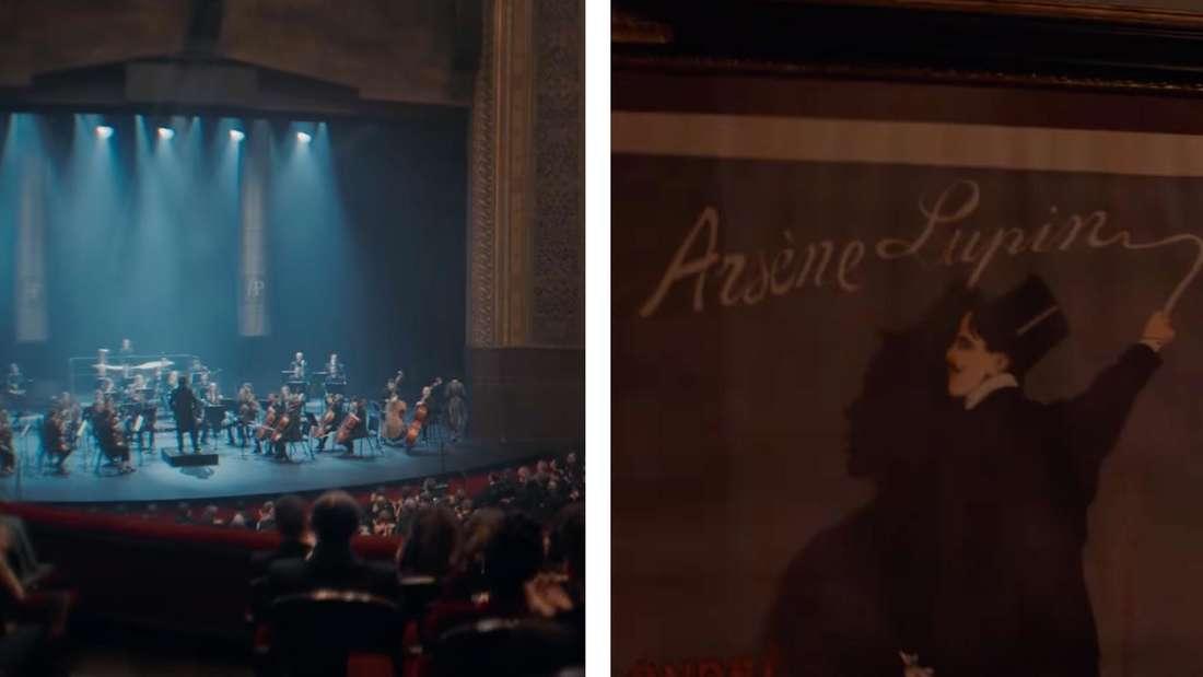 Eine Oper und ein Plakat, dass die Buchvorlage Arsène Lupin zeigt.