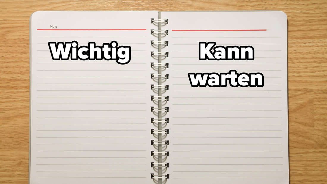 """Ein liniertes Notizbuch, das offen auf einer Holz-Oberfläche liegt. Auf der linken Seite steht """"Wichtig"""" und auf der rechten """"Kann warten""""."""