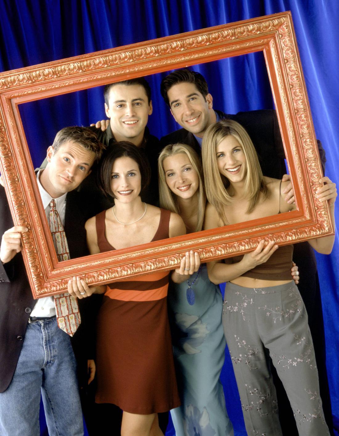 """Die """"Friends""""-Stars Matthew Perry, Courteney Cox, Matt LeBlanc, Lisa Kudrow, David Schwimmer und Jennifer Aniston."""