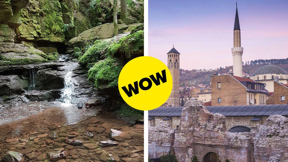 Das Monbachtal im Schwarzwald, in welchem ein Fluss mit vielen Steinen und grünen Felsen zu sehen ist und die Altstadt Sarajevo mit Mauer, verschiedenen Gebäuden und Bergen im Hintergrund.