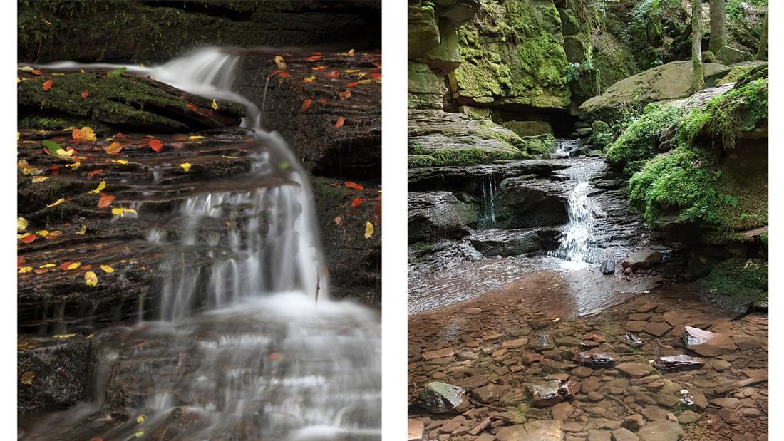 Zwei Bilder, die das Monbachtal im Schwarzwald zeigen, in welchem einmal ein Fluss zu sehen ist, der sich über verschiedene Steine zieht und einmal der Fluss, wie er über verschiedene Felsen und Steine plätschert