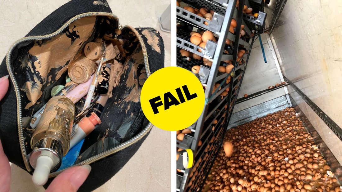 Eine Tasche voller Make-Up, welches kaputtgegangen ist und ausläuft und ein Trolley voller Eier, der fast umgekippt ist und neben dem sehr viele kaputte Eier liegen.
