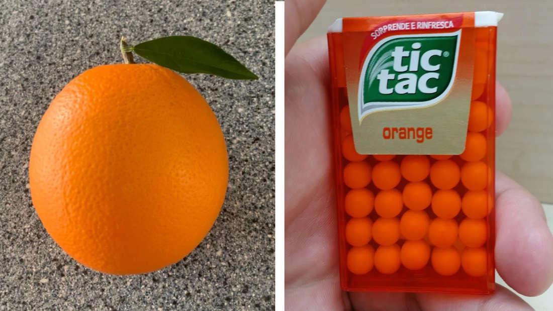 Eine Orange, die perfekt geformt ist und eine TicTac-Packung, in der alle TicTacs in perfekten Fünfer-Reihen liegen.