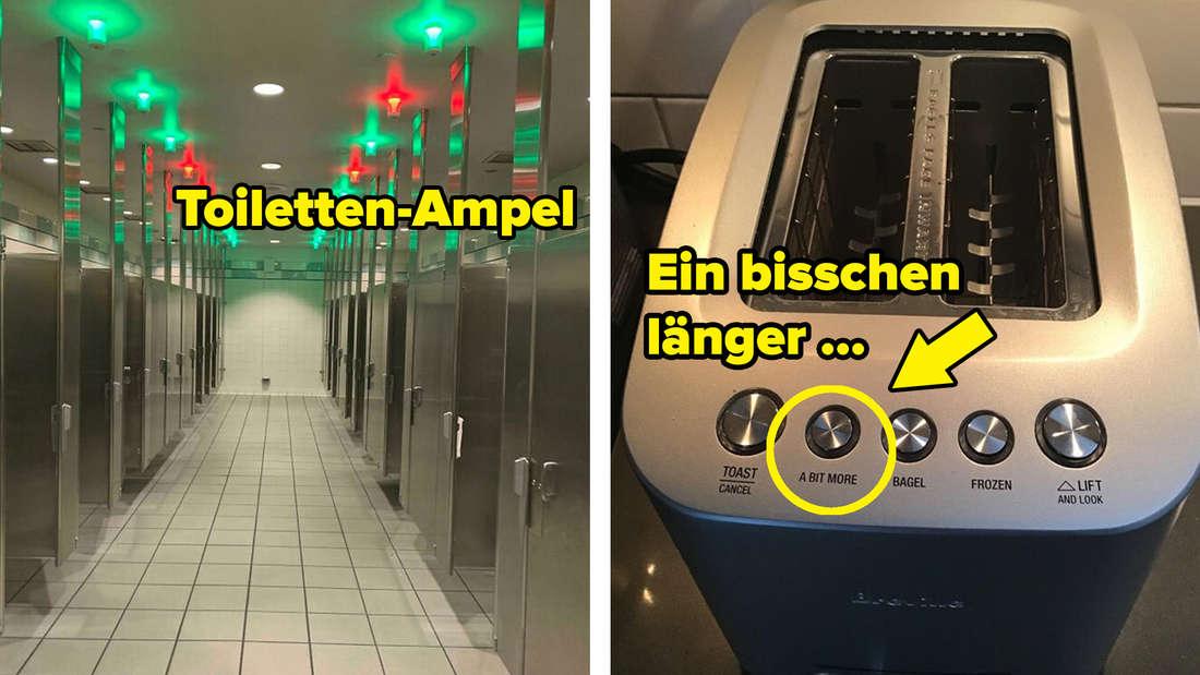 Ampeln in einer öffentlichen Toilette, um deren Belegung anzuzeigen. Ein Toaster mit der Option: Ein bisschen länger.