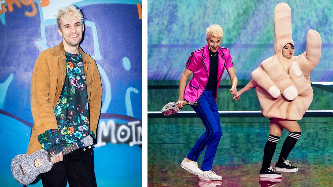Jendrik, Deutschlands Eurovision Songcontest, der eine glitzernde Ukulele in der Hand hält und Jendrik, der die Hand einer Frau hält, die ein Peace-Zeichen-Kostüm trägt.