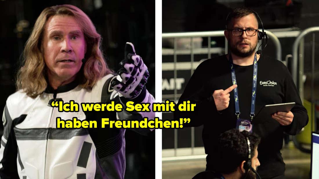 """Lars zeigt auf einen ESC-Mitarbeiter, der verwirrt auf sich selbst deutet. Lars sagt: """"Ich werde Sex mit dir haben Freundchen!"""""""