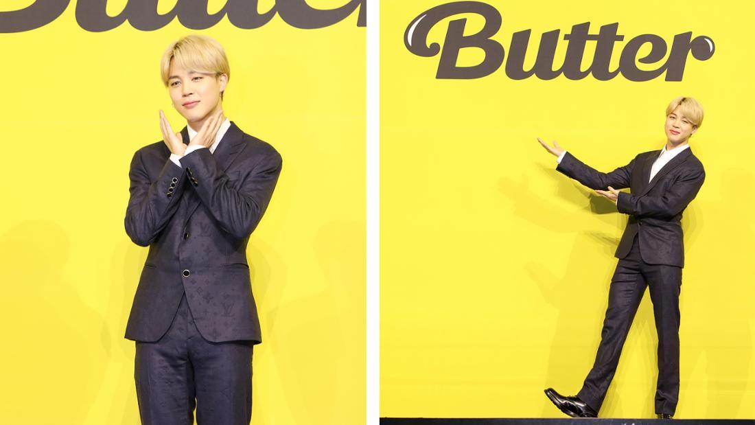 """Jimin bei der Pressekonferenz für BTS neue Single """"Butter""""."""