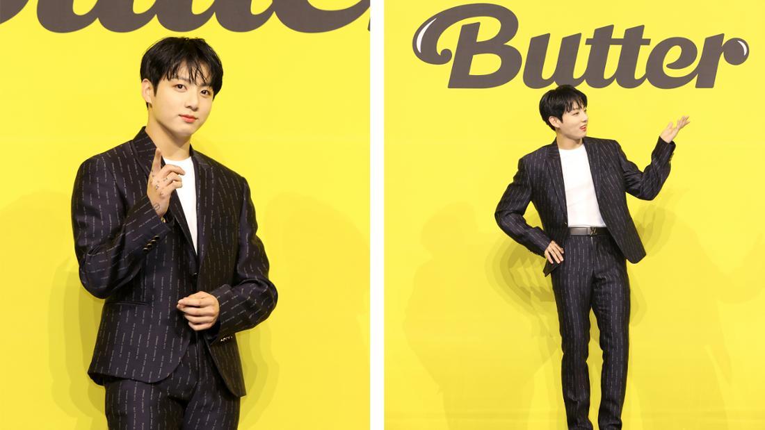 """Jin bei der Pressekonferenz für BTS' neue Single """"Butter""""."""