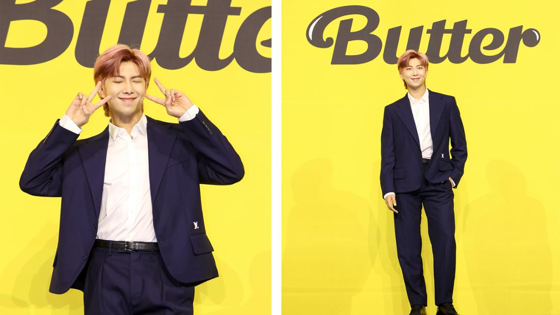 """Kim Namjoon bei der Pressekonferenz für BTS' neue Single """"Butter""""."""