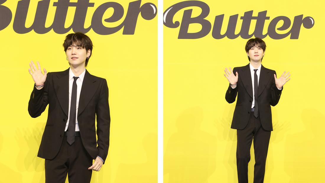 """Min Yoongi bei der Pressekonferenz für BTS' neue Single """"Butter""""."""