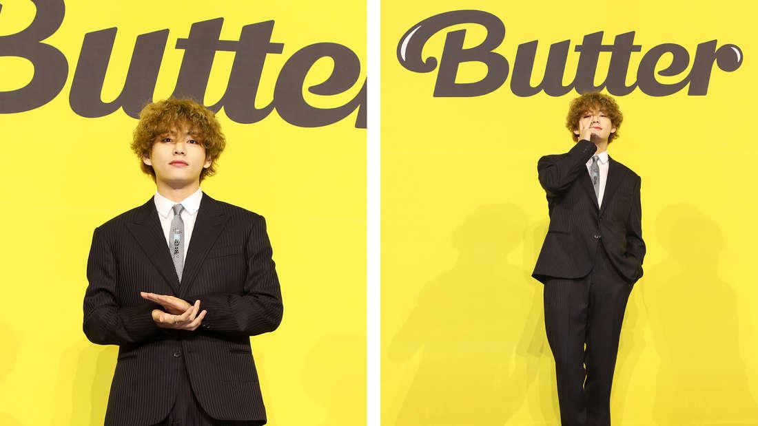 """Kim Taehyung bei der Pressekonferenz für BTS' neue Single """"Butter""""."""