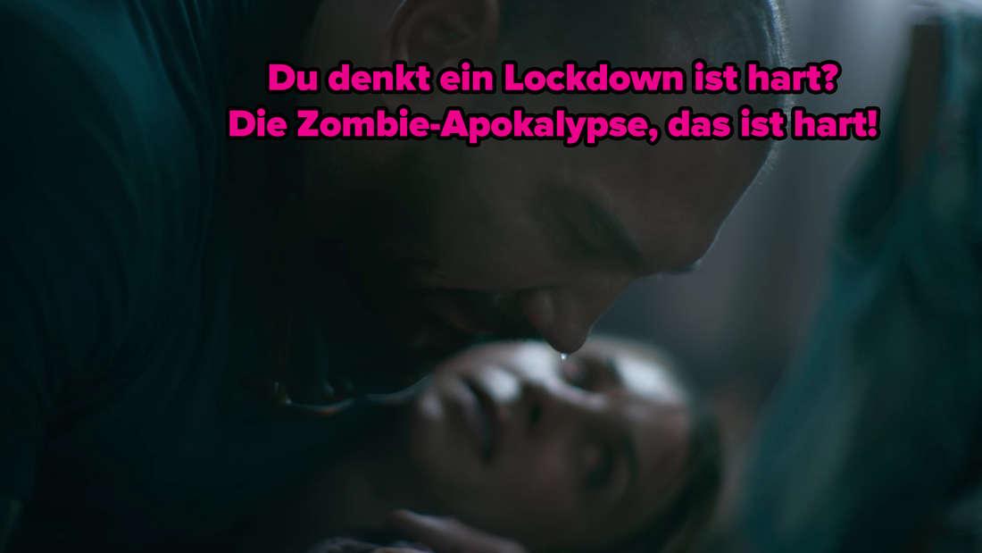 Dave Bautista hält eine tote Frau in den Armen. Über dem Bild steht: Du denkst ein Lockdown ist hart? Die Zombie-Apokalypse, das ist hart.