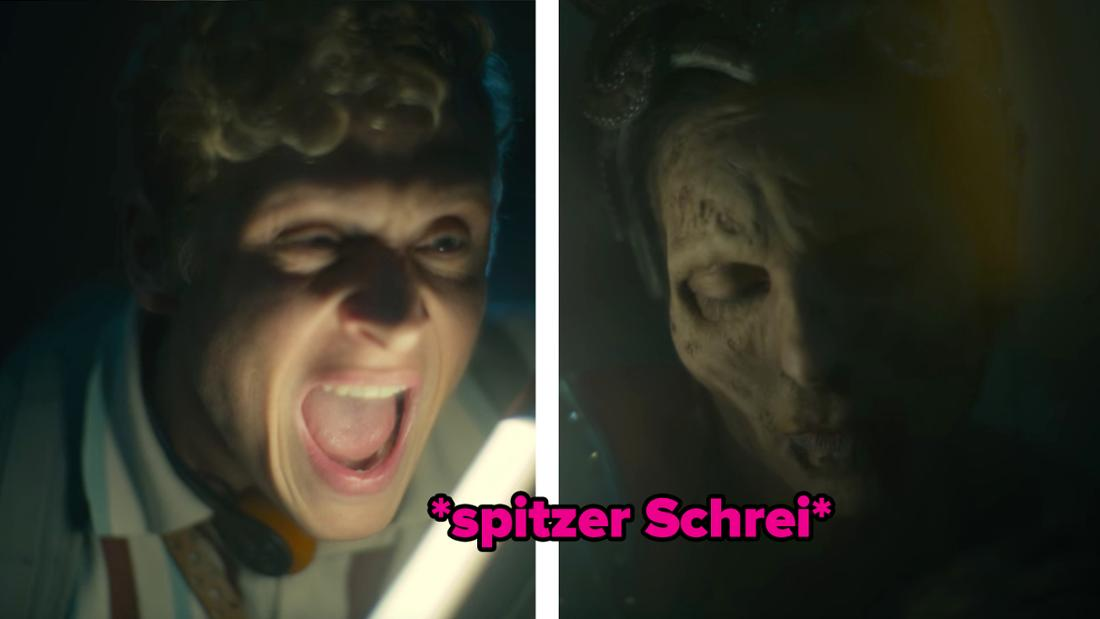 Dieter schreit laut auf, während er im Dunklen einen schlafenden Zombie entdeckt