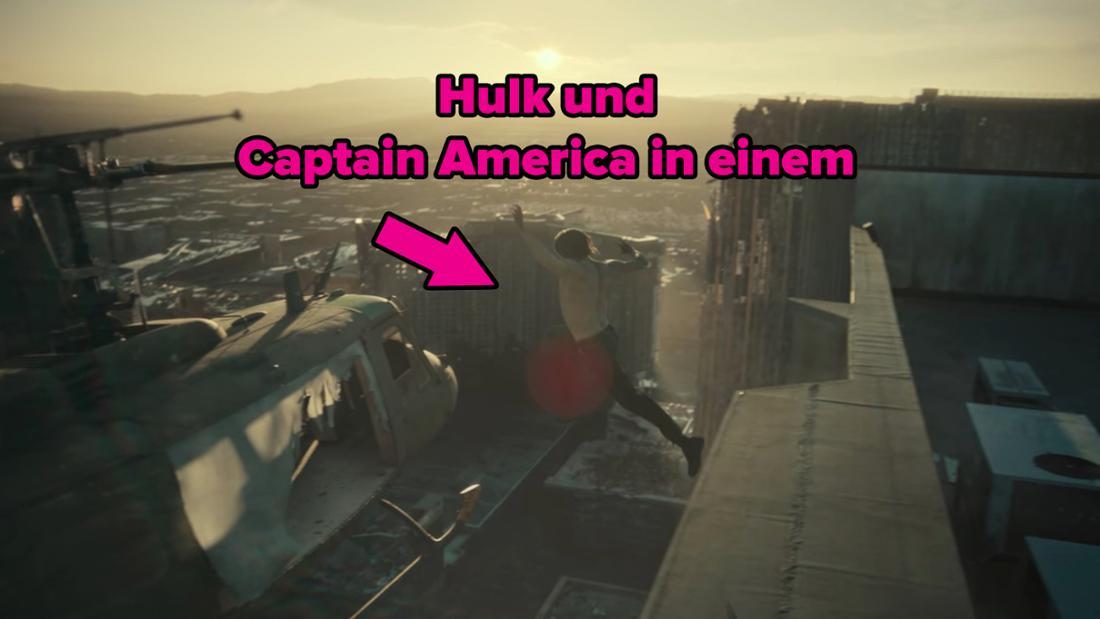 Der Zombie-König springt in den abfliegenden Hubschrauber.