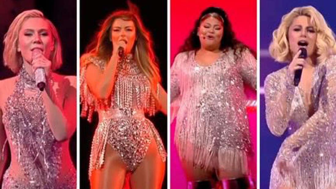 Vier Performerinnen des ESC in fast demselben Glitter-Outfit.