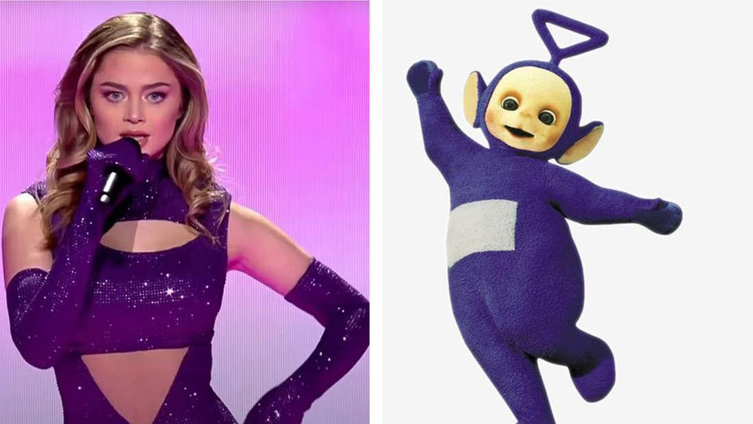 Die griechische Performerin in lila Glitzeroutfit im Vergleich zu dem lila Teletubbie.