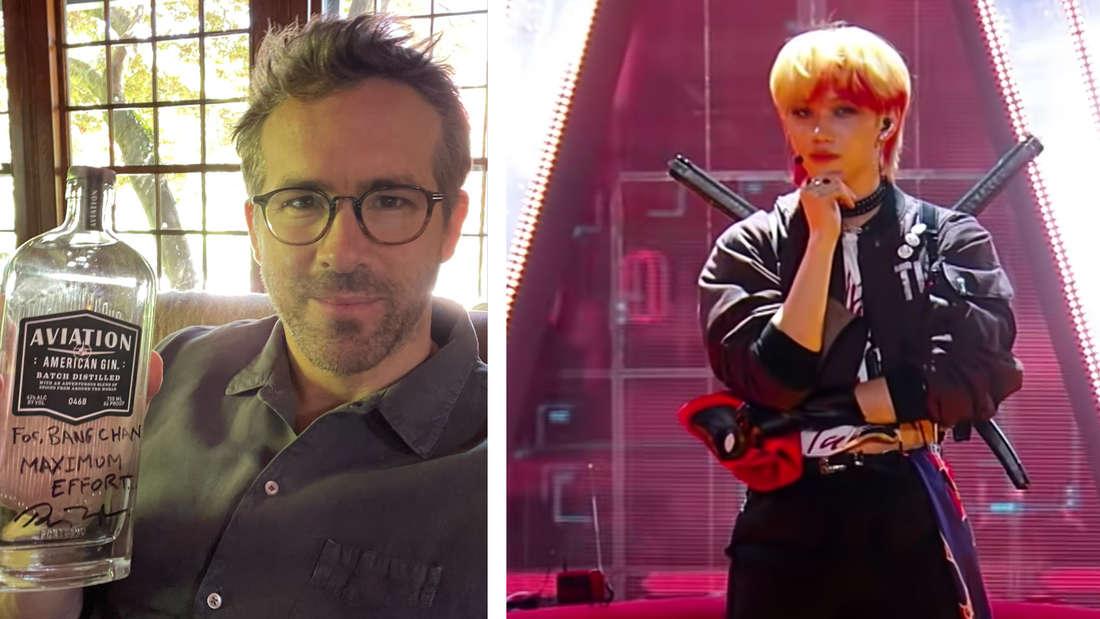 """Ryan Reynolds, der ein Autogramm für Bang Chan von Stray Kids hochhält und Lee Felix, der auf der Bühne von """"Kingdom: Legendary War"""" steht."""