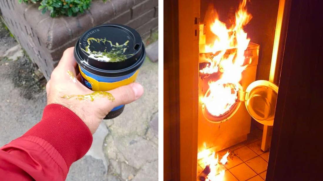 Linke Seite: Ein Vogel hat direkt auf die Trinköffnung eines Coffee-To-Go-Bechers geschissen. Rechts: Eine brennende Waschmaschine