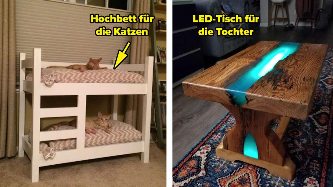 """Ein Hochbett, auf dem zwei Katzen sitzen und über dem steht """"Hochbett für die Katzen"""" und ein Holztisch, durch den ein Streifen mit einem blauen LED-Licht geht und über dem steht """"LED-Tisch für die Tochter""""."""