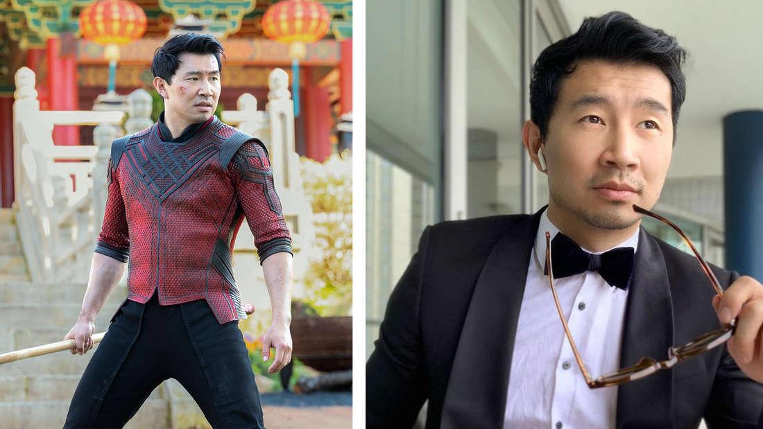 """Simu Liu im neuen Marvel Film """"Shang-Chi and The Legend of the Ten Rings"""", auf dem er einen Stock in der Hand hält und entschlossen aussieht und ein Bild von Simu Liu, auf dem er gelassen in die Ferne guckt und eine Brille in der Hand hält."""