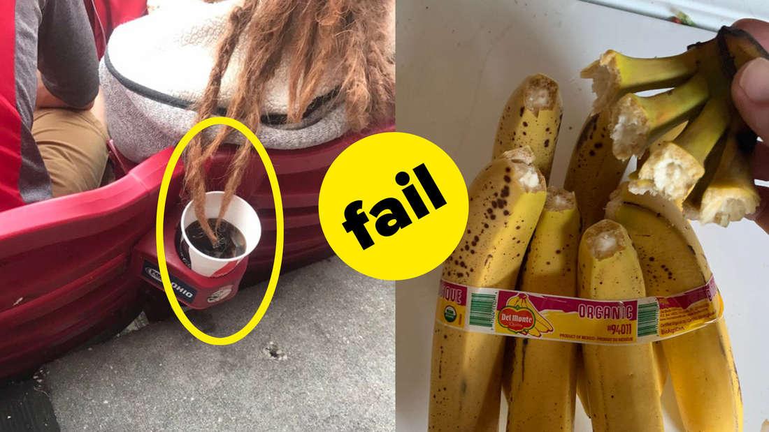 Dreadlocks, die in das Getränk von jemand anderem hängen und jemand, der alle Bananen auf einmal aufgerissen hat
