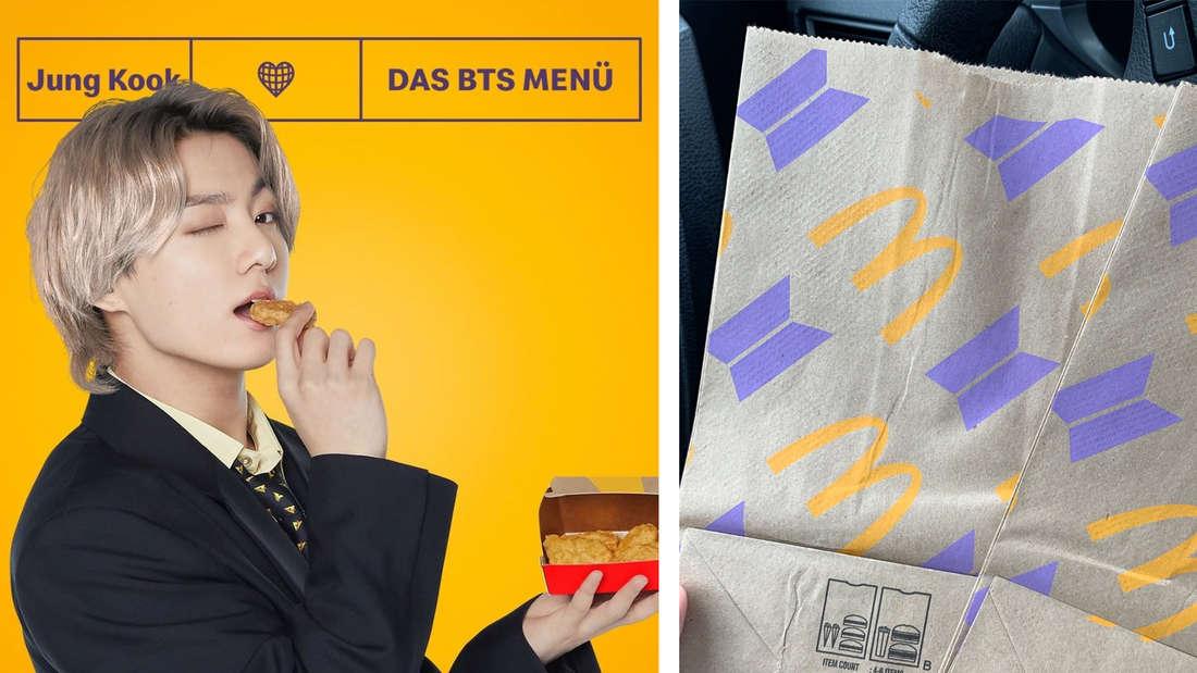 Jeon Jungkook von der südkoreanischen Gruppe BTS, der gerade in einen Chicken McNugget beißt und der Kamera zuzwinkert und eine Tüte des neuen BTS-Menüs, das McDonald's jetzt anbietet.