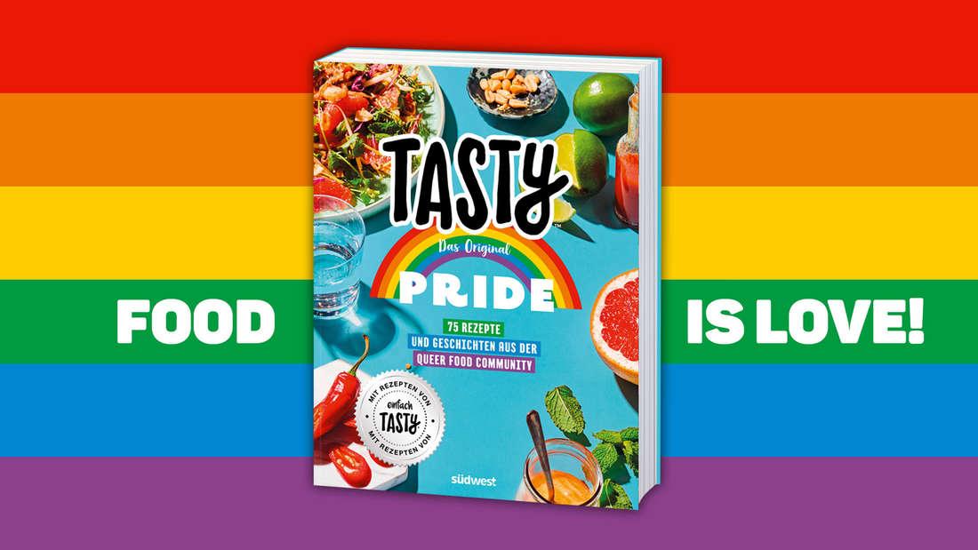 """Das neue einfach Tasty Kochbuch """"Tasty Pride"""" auf einem Regenbogen-Hintergrund: """"Food is Love!"""""""