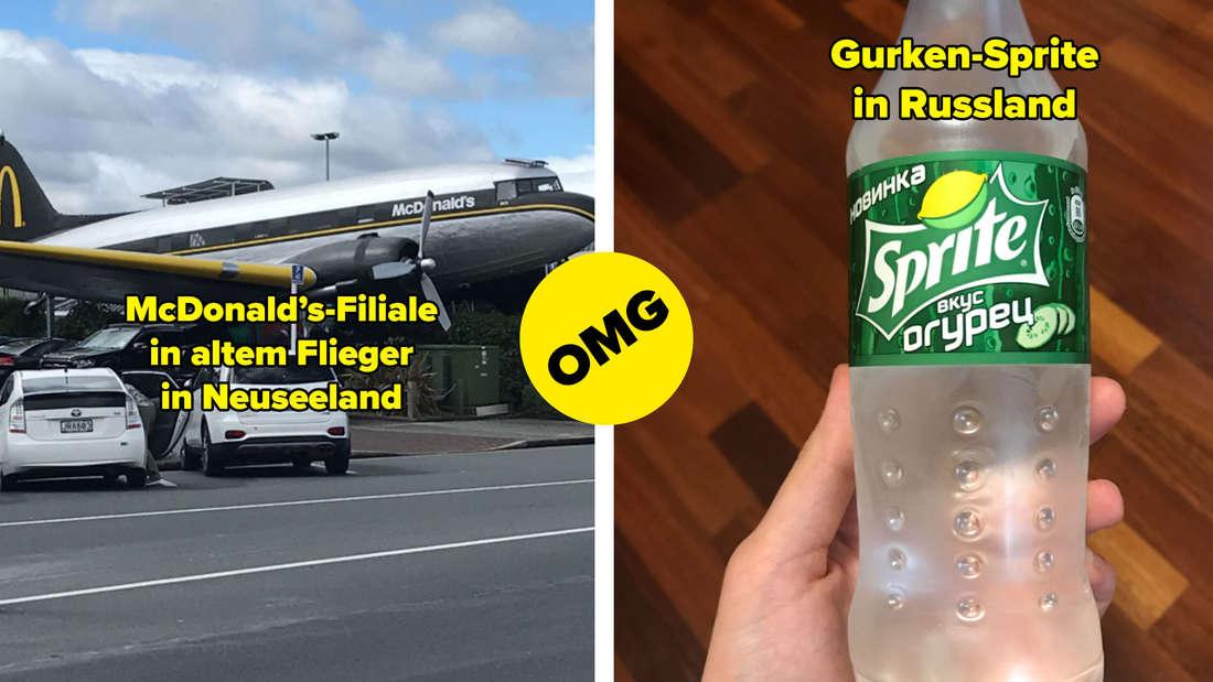 Eine McDonald's Filiale, die in einem alten Flugzeug in Neuseeland steht und eine Sprite mit Gurkengeschmack in Russland, die jemand festhält.