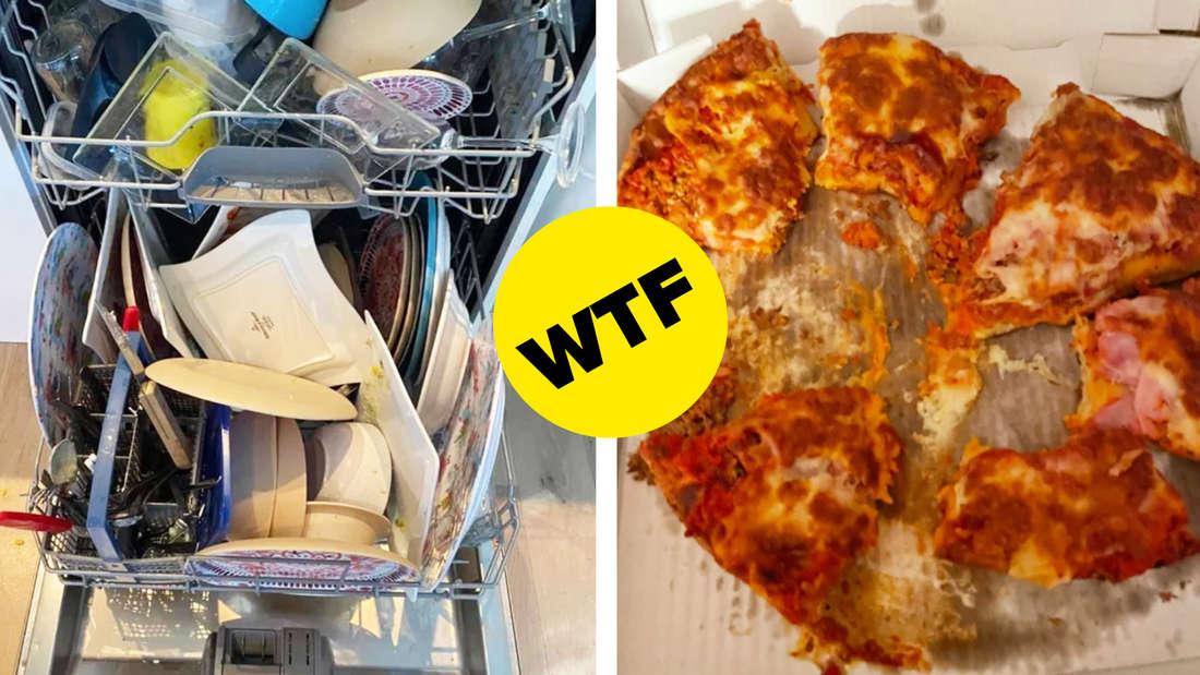 Eine Spülmaschine, in der jemand sehr schlecht Geschirr eingeräumt hat und eine Pizza, bei der alle Stücke angegessen sind. In der Mitte ist ein gelber BuzzFeed-Button, auf dem in schwarzer Schrift WTF steht.