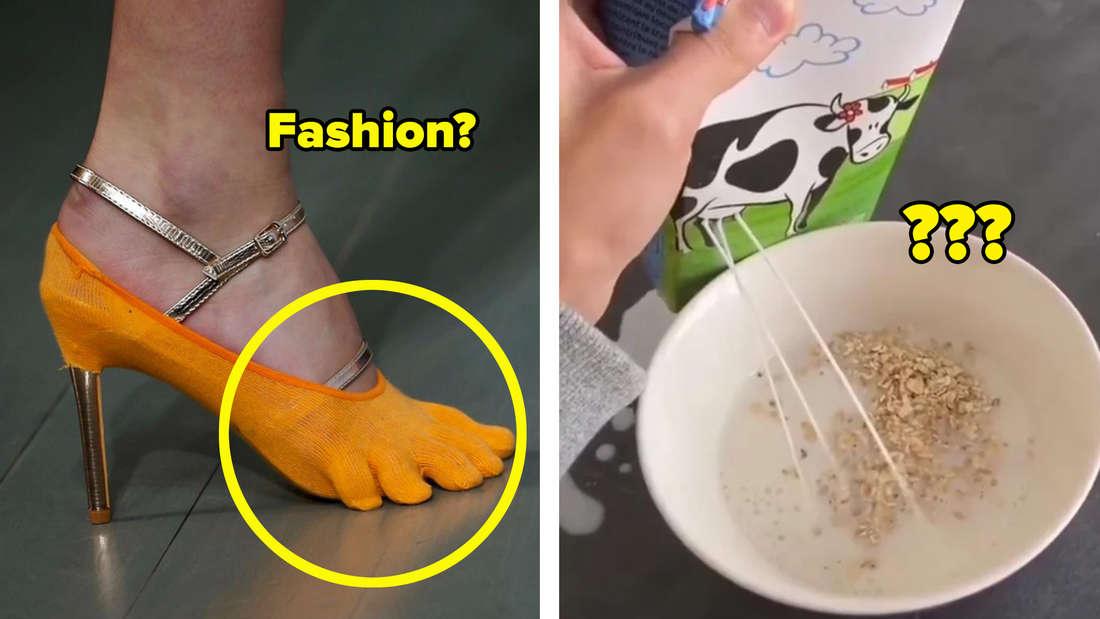 Ein oranger High-Heel, bei dem die Zehen einzeln abgespreizt sind und eine Packung Milch mit einer Kuh als Bild, in dessen Euter jemand Löcher gemacht hat, um die Milch daraus in eine Schüssel Cornflakes fließen zu lassen