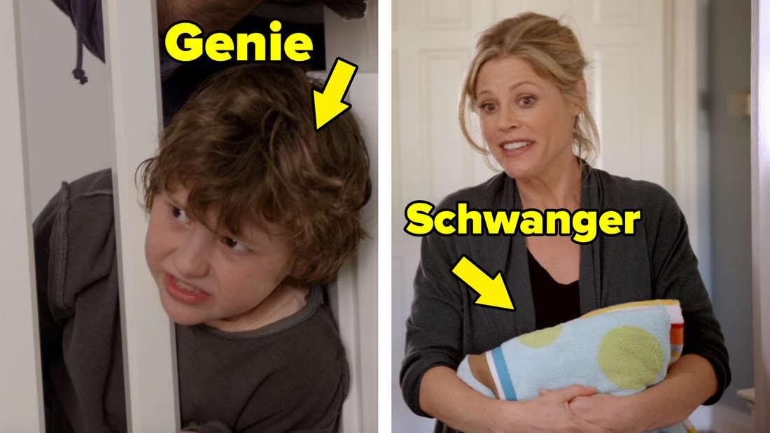 Luke steckt mit dem Kopf im Treppengitter. Über ihm steht das Wort: Genie. Claire hält sich ein Kissen vor den Bauch. Über ihr steht das Wort: Schwanger.