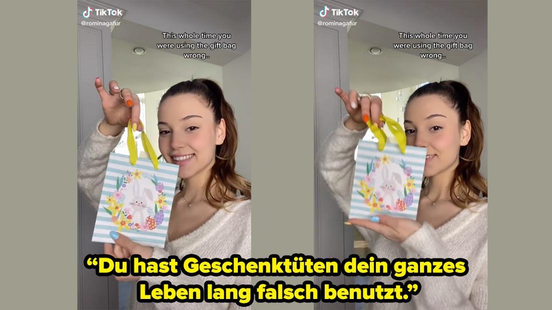 @rominagafur erklärt in einem TikTok-Video, in dem sie eine Geschenktüte hochhält, dass alle Geschenktüten ihr ganzes Leben lang falsch verwendet haben.