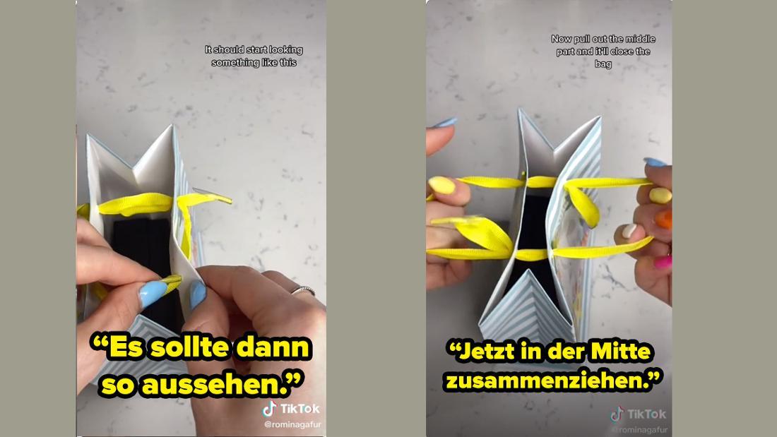 Rominagafur zeigt, wie die Tüte nach dem Fädeln aussehen soll und dass die Fäden jetzt nur noch in der Mitte zusammengezogen werden müssen.
