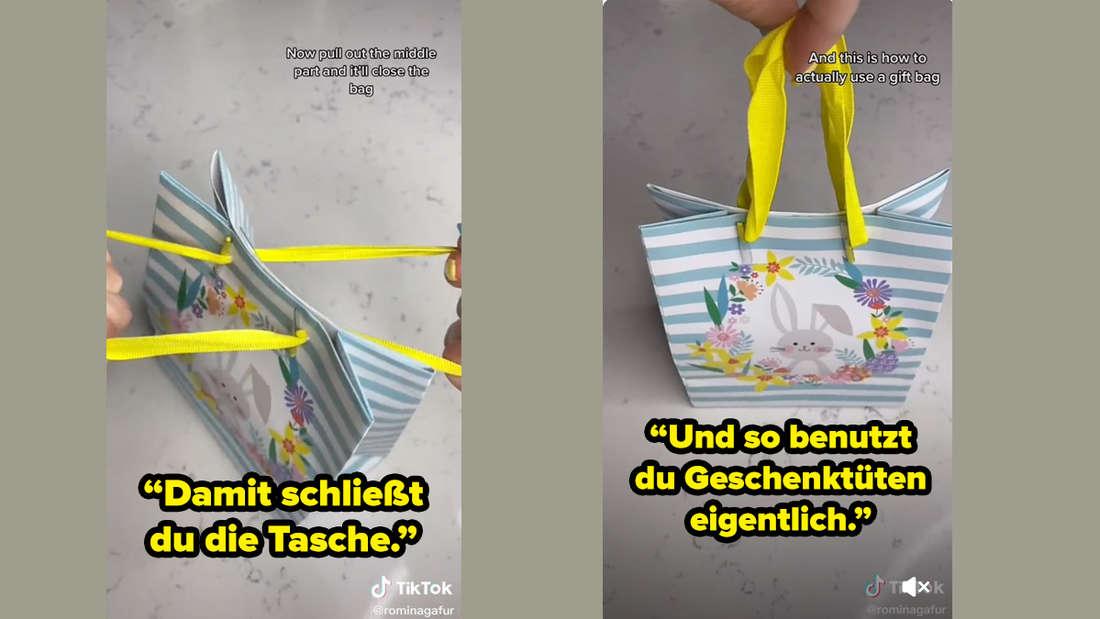 """Rominagafur schließt die Tasche, indem sie die Bänder auseinander zieht und zeigt dann die geschlossene Tüte. Auf den Bildern steht """"Damit schließt du die Tasche."""" und """"Und so benutzt du Geschenktüten eigentlich."""""""