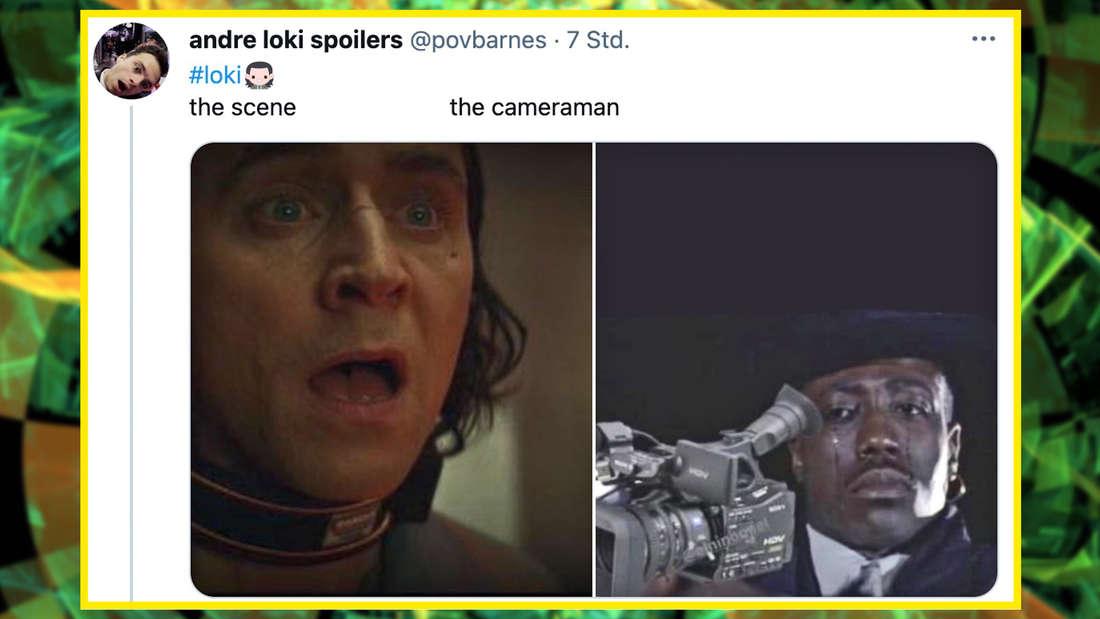 """Eine Szene aus """"Loki"""", daneben ein Symbolbild für den Kameramann, der beim Filmen heulen muss."""