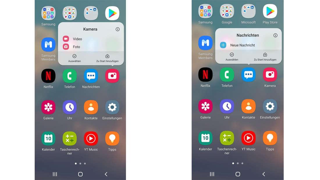 Das Menü eines Android Handys, bei dem gerade das Quick Menu für die Kamera links und das für Nachrichten rechts aktiviert ist.