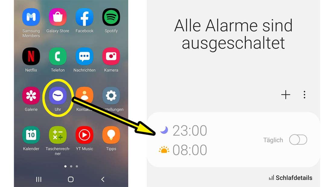 Die Uhr-Funktion von Samsung, die es möglich macht, einen Schlafmodus einzustellen.