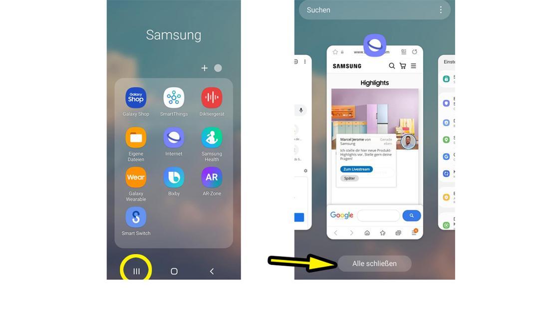 Ein Samsung-Menü, bei dem angezeigt wird, wie man alle Anwendungen auf einmal schließen kann.