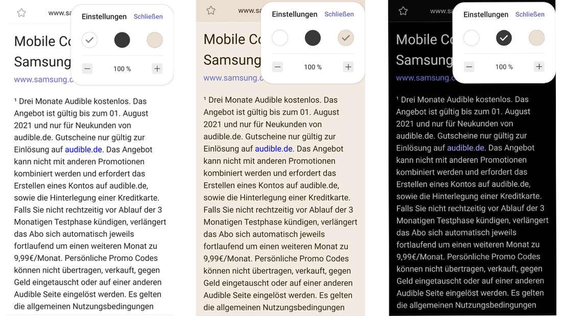 Die drei Bildschirm-Modes, die Samsung für den Samsung-Browser anbietet.
