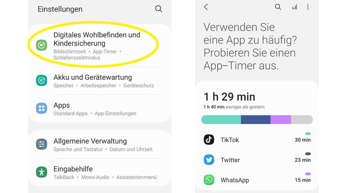 Die Einstellungen von Samsung, in der man das Dashboard für das Digitale Wohlbefinden einstellen kann.