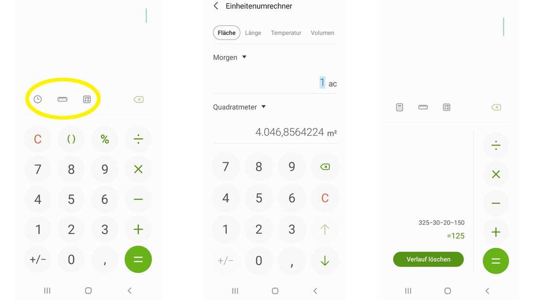 Die Rechner-Funktion von Samsung, die es erlaubt, Einheiten umzurechnen und den Verlauf der Rechnungen anzusehen.
